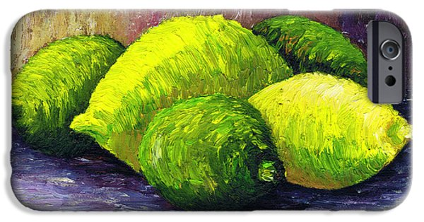Lime Paintings iPhone Cases - Lemons and Limes iPhone Case by Kamil Swiatek