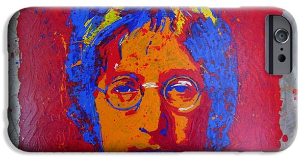 Beatles Sculptures iPhone Cases - Lennon on Steel iPhone Case by Chris Mackie