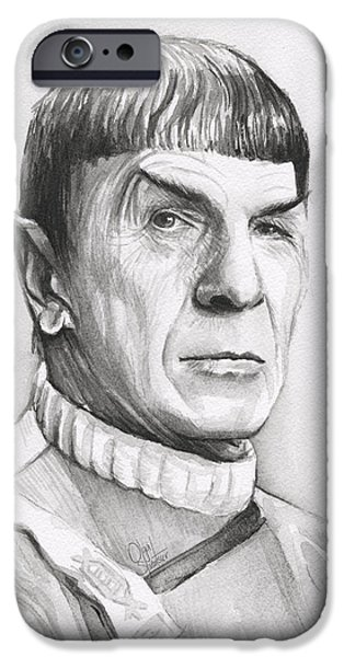 Fan Paintings iPhone Cases - Leonard Nimoy as Spock iPhone Case by Olga Shvartsur