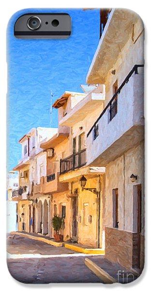 Balcony iPhone Cases - Lerapetra Street Digital Painting iPhone Case by Antony McAulay