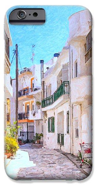 Balcony iPhone Cases - Lerapetra Street Scene Digital Painting iPhone Case by Antony McAulay