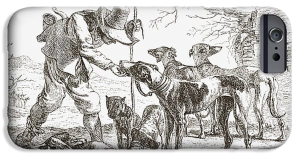 Feed Drawings iPhone Cases - Les Chiens By Pieter Van Laer. A Hunter iPhone Case by Ken Welsh
