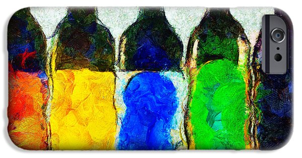 Wine Bottles iPhone Cases - Les couleurs de la vin iPhone Case by Sir Josef  Putsche