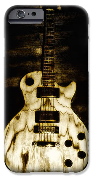 Rock And Roll Digital Art iPhone Cases - Les Paul Guitar iPhone Case by Bill Cannon