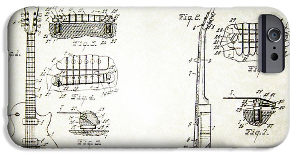 Bill Cannon iPhone Cases - Les Paul Guitar Patent 1955 iPhone Case by Bill Cannon