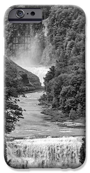 River iPhone Cases - Letchworth State Park 6 bw iPhone Case by Steve Harrington