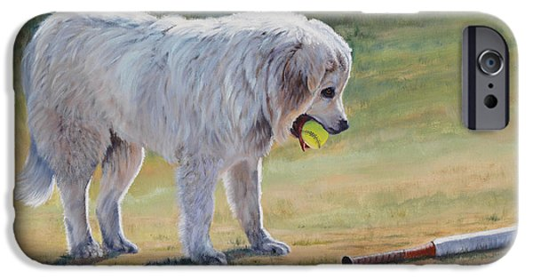 Softball Paintings iPhone Cases - Lets Play Ball - Great Pyrenees iPhone Case by Danielle Smith