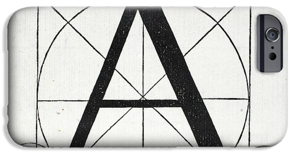 White Tapestries - Textiles iPhone Cases - Letter A iPhone Case by Leonardo Da Vinci