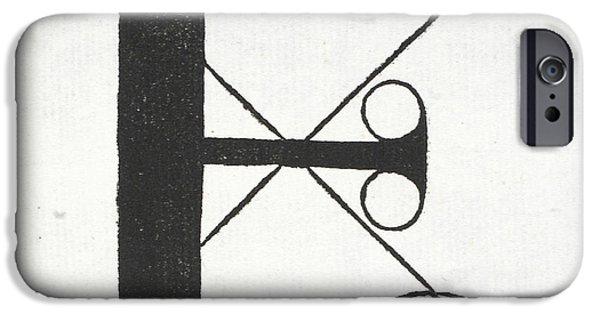 Tapestries - Textiles iPhone Cases - Letter E iPhone Case by Leonardo Da Vinci