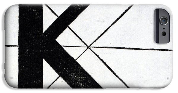 Tapestries - Textiles iPhone Cases - Letter K iPhone Case by Leonardo Da Vinci