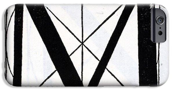 Tapestries - Textiles iPhone Cases - Letter M iPhone Case by Leonardo Da Vinci