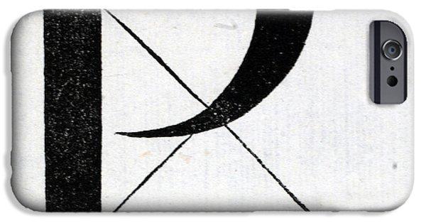 Tapestries - Textiles iPhone Cases - Letter P iPhone Case by Leonardo Da Vinci