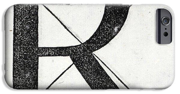 Tapestries - Textiles iPhone Cases - Letter R iPhone Case by Leonardo Da Vinci
