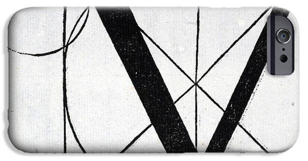 Tapestries - Textiles iPhone Cases - Letter V iPhone Case by Leonardo Da Vinci