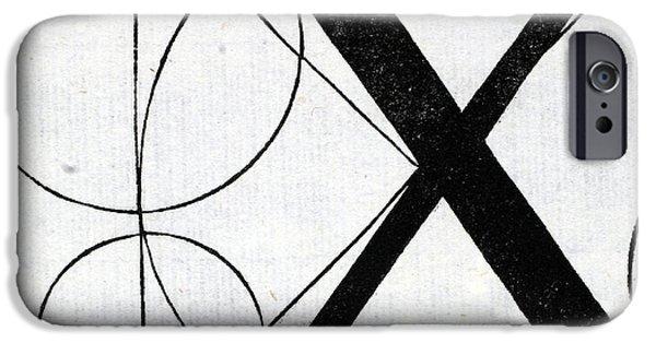 Tapestries - Textiles iPhone Cases - Letter X iPhone Case by Leonardo Da Vinci