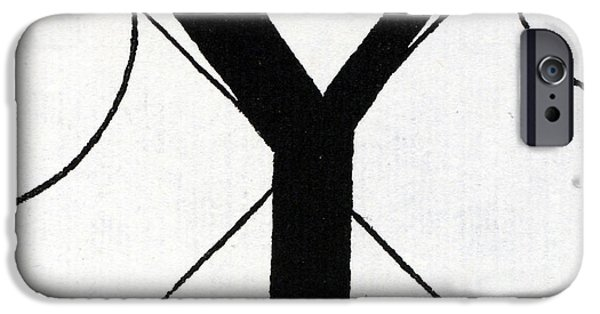 White Tapestries - Textiles iPhone Cases - Letter Y iPhone Case by Leonardo Da Vinci