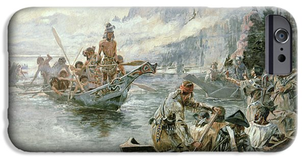 Exploring Paintings iPhone Cases - Lewis and Clark on the Lower Columbia River iPhone Case by Charles Marion Russell