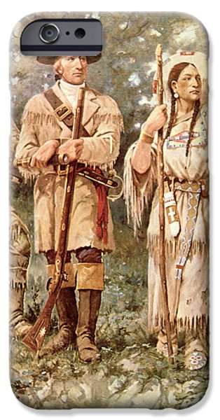 Native Drawings iPhone Cases - Lewis and Clark with Sacagawea iPhone Case by Edgar Samuel Paxson