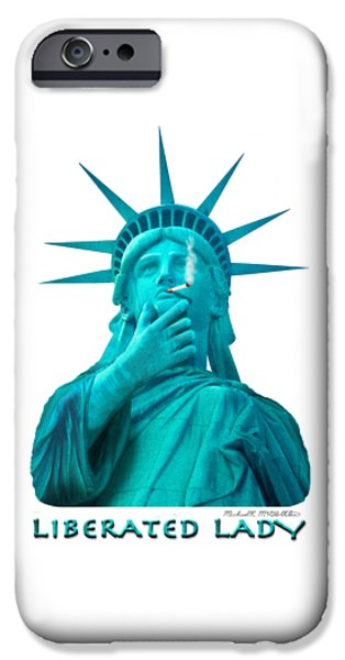 Shirt Digital iPhone Cases - Liberated Lady 3 iPhone Case by Mike McGlothlen