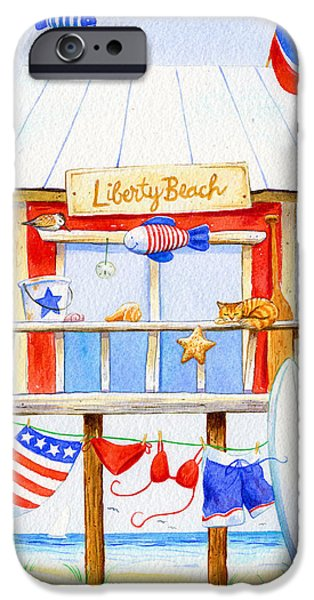 4th July Paintings iPhone Cases - Liberty Beach iPhone Case by Laura Nikiel