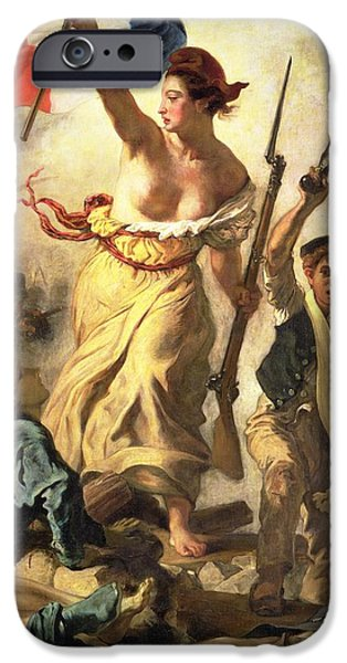 July iPhone Cases - Liberty Leading the People iPhone Case by Ferdinand Victor Eugene Delacroix