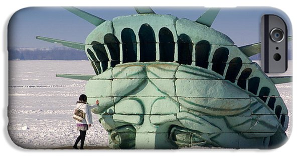 Statue iPhone Cases - Liberty iPhone Case by Linda Mishler