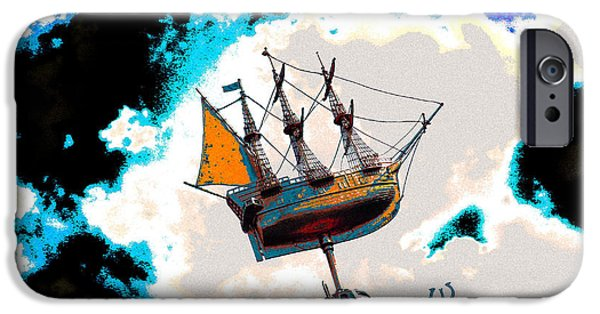 Pirate Ship Digital iPhone Cases - Libertys Clipper iPhone Case by Alice Gur-Arie