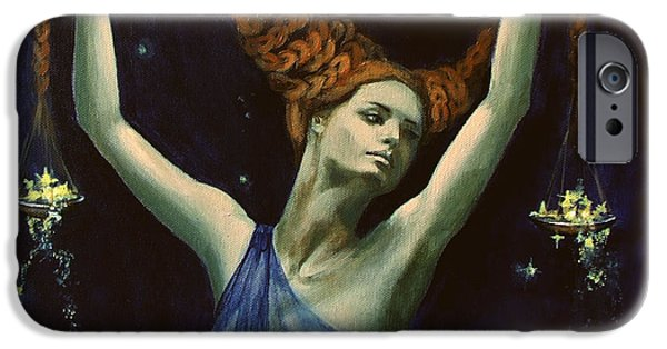 Constellation Paintings iPhone Cases - Libra from Zodiac series iPhone Case by Dorina  Costras