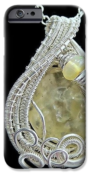 Jordan Jewelry iPhone Cases - Libyan Desert Glass Meteorite Impactite Pendant in Sterling Silver with Ethiopian Opals LDGPSS11 iPhone Case by Heather Jordan