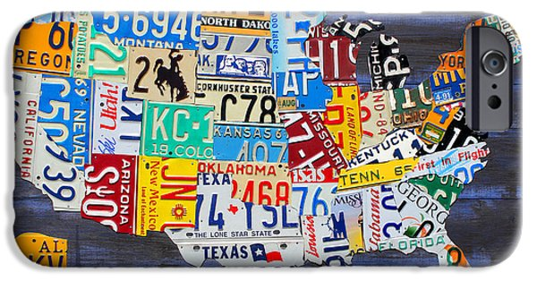 Board Mixed Media iPhone Cases - License Plate Map of the USA on Blue Wood Boards iPhone Case by Design Turnpike