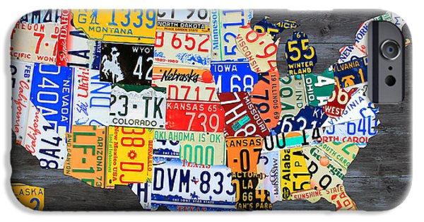 Board Mixed Media iPhone Cases - License Plate Map of the Usa on Gray Distressed Wood Boards iPhone Case by Design Turnpike