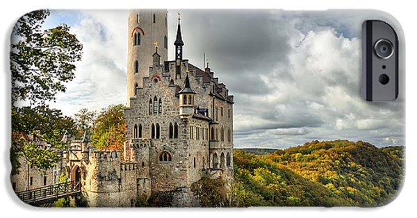 Fall Trees iPhone Cases - Lichtenstein Castle iPhone Case by Ryan Wyckoff