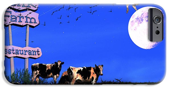 Cow Humorous iPhone Cases - Life At The Old Milk Farm Restaurant After The Lights Went Out For The Last Time In 1986 iPhone Case by Wingsdomain Art and Photography