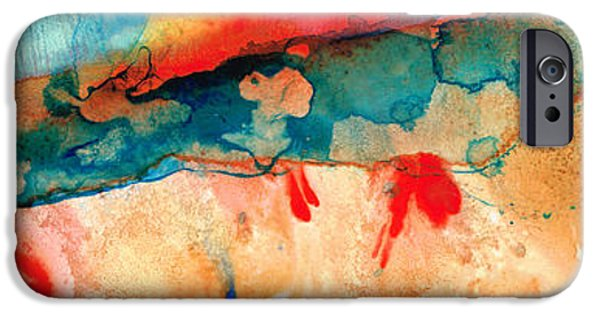 Contemporary Abstract iPhone Cases - Life Eternal Red And Green Abstract iPhone Case by Sharon Cummings