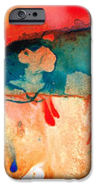 Life Eternal Red And Green Abstract iPhone Case by Sharon Cummings