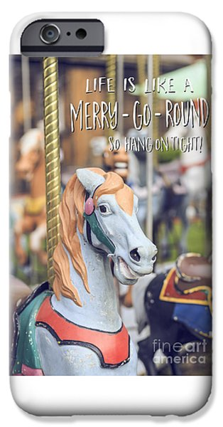 Fall iPhone Cases - Life is like a merry-go-round so hang on tight iPhone Case by Edward Fielding