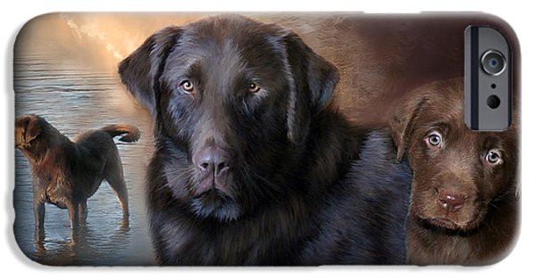 Chocolate Lab Mixed Media iPhone Cases - Life Of A Lab iPhone Case by Carol Cavalaris