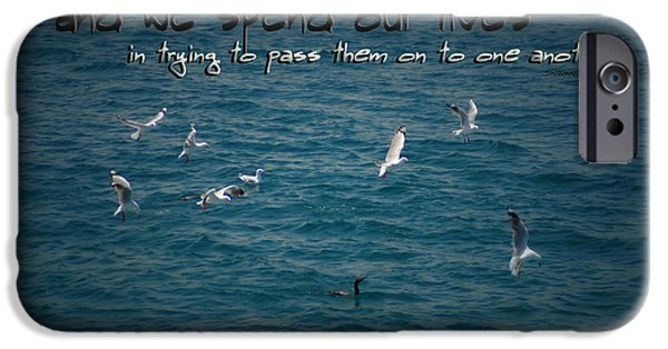 Flying Seagull iPhone Cases - Lifes Lessons iPhone Case by Vicki Ferrari