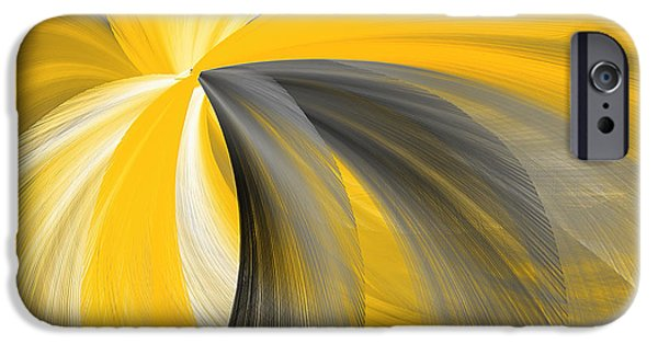 Yellow And Grey Abstract Art iPhone Cases - Light Beyond iPhone Case by Lourry Legarde