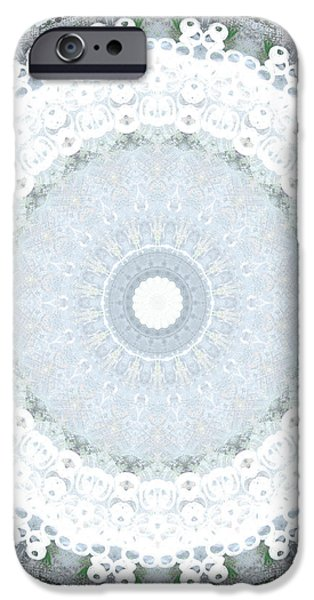 Fractal iPhone Cases - Light Blue Mandala- art by Linda Woods iPhone Case by Linda Woods
