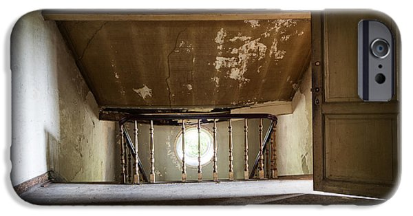 Haunted House iPhone Cases - Light From The Spooky Attic - Abandoned Building iPhone Case by Dirk Ercken