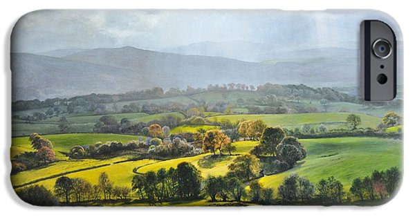 Recently Sold -  - Nature Study Paintings iPhone Cases - Light in the Valley at Rhug. iPhone Case by Harry Robertson