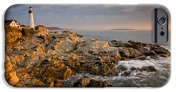 New England Lighthouse iPhone Cases - Light on Portland Head iPhone Case by Susan Cole Kelly