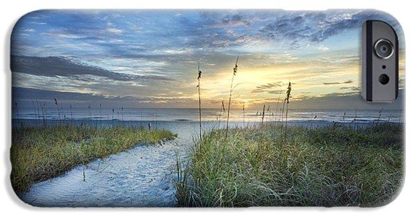 Ocean Sunset iPhone Cases - Light on the Dunes iPhone Case by Debra and Dave Vanderlaan