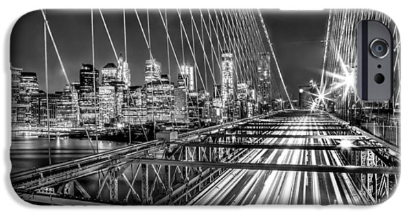 Financial District iPhone Cases - Light Trails Of Manhattan iPhone Case by Az Jackson