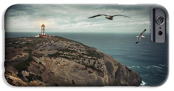 Lighthouse iPhone Cases - Lighthouse Cliff iPhone Case by Carlos Caetano