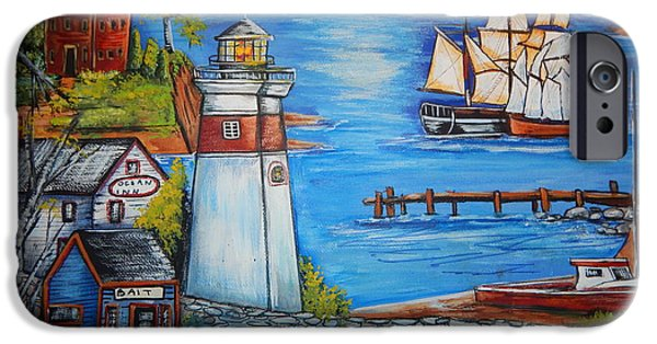 Tall Ship iPhone Cases - Lighthouse Cove iPhone Case by Theresa Prokop