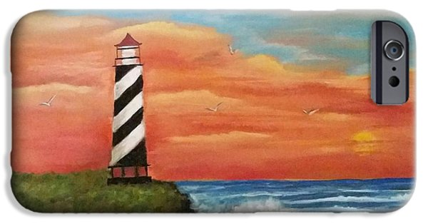Lighthouse Pastels iPhone Cases - Lighthouse iPhone Case by Jennifer Willhite