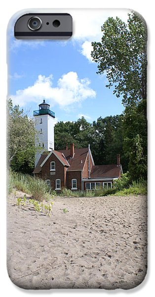 Lighthouse iPhone Cases - Lighthouse Lake Erie Beach 2 iPhone Case by Big E tv Photography