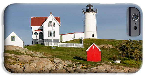 Cape Neddick Lighthouse iPhone Cases - Lighthouse under Blue Dusky Sky iPhone Case by DAC Photography
